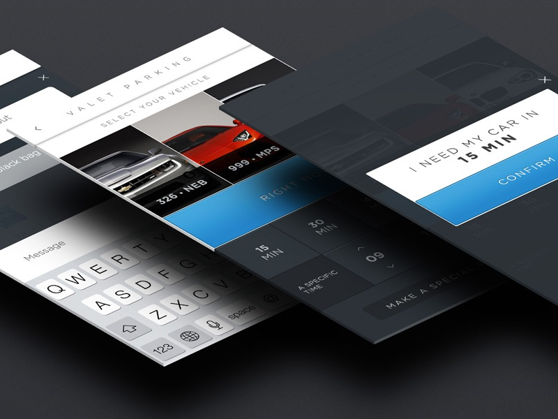 Valet Parking ui ux app ios7 ios iphone valet parking argentina lucas aerolab time chat