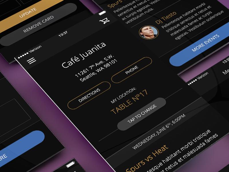iOS7 App Design | Café Juanita ios ios7 app design café mobile ui ux dark gold lucas argentina