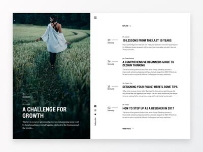 Feather Blog Layout argentina white minimal typography website ux ui layout grid blog posts web design