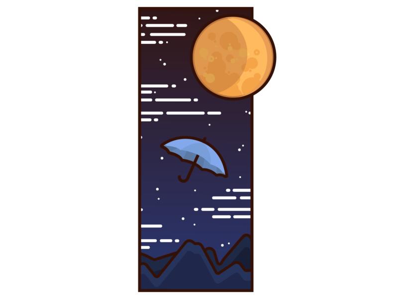 Umbrella by the moon logo graphicdesign web graphic design minimal vector illustration icon graphic design