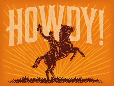 Howdy Dribbble! texture hand lettered hand lettering howdy horse cowboy adobe illustrator vector scratchboard linocut woodcut illustration