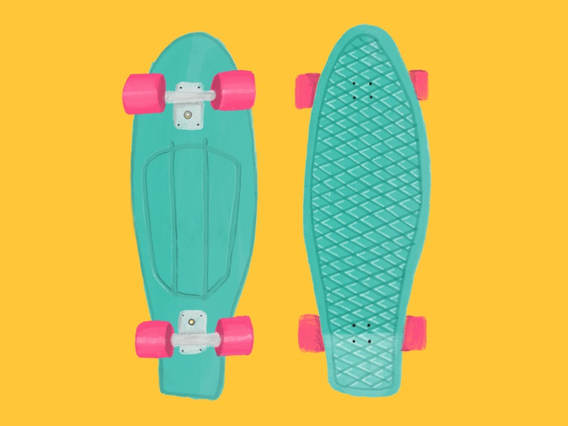 Keep Rolling rolling yellow painting drawing skateboarding deck skate illustration