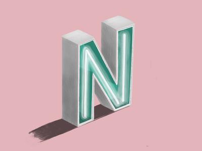 N sketch block n letter 3d dimensionaltype typography type lettering