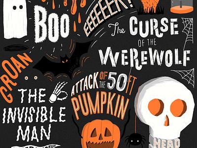 Halloween horror doodle sketch type illustration ghost skull pumpkin spooky halloween