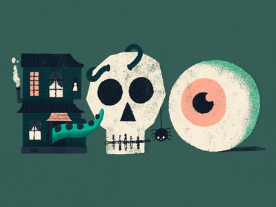 Boo eyeball spider ghost haunted house skull colour illustrated type sketch hand lettering typography lettering type illustration halloween