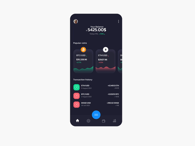 Cryptocurrency trading app dashboard money ethereum bitcoin dogecoin currency crypto new figma xd dark mode crypto exchange cryptocurrency animation motion ux ui app mobile design