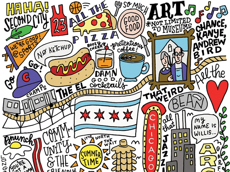 Things I love about Chicago city travel illustration chicago