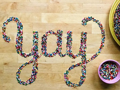Yay sprinkles birthday hand lettering food lettering lettering