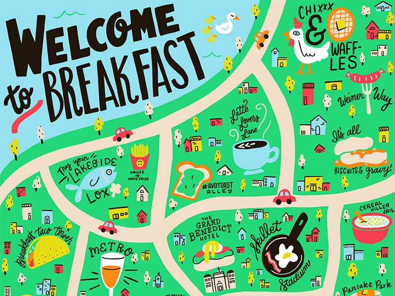 Breakfast City Guide hand-lettering handlettering lettering procreate brunch illo illustration breakfast