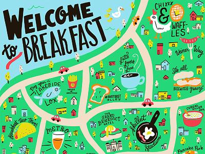 Breakfast City Guide hand-lettering handlettering lettering procreate brunch illo illustration breakfast