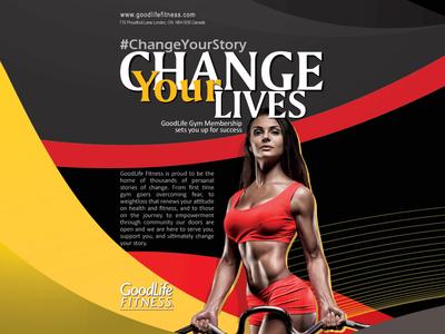 Flyer for GoodLife Fitness fitness print ad flyer flyer artwork flyer design