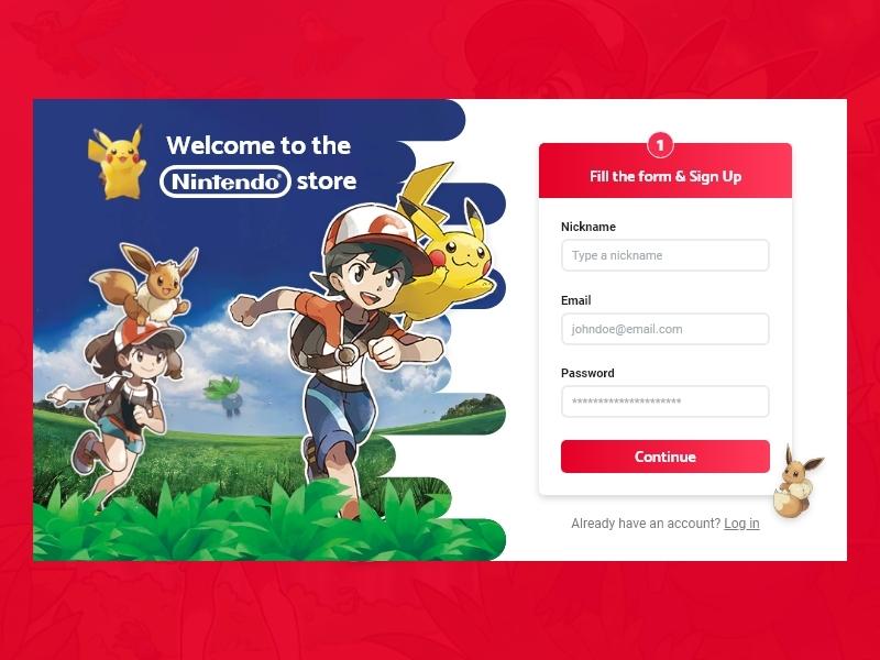 Nintendo Store Sign-Up web design steps store form field form sign up form eevee pikachu pokemon nintendo ux web ui graphic  design design