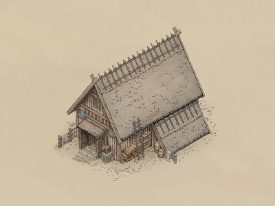 Viking House Concept isometry isometric illustration isometric art viking town nordic medieval line art isometric illustration house game art game fantasy design concept art concept art building architecture