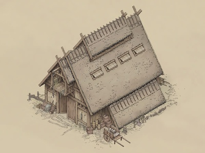 Warehouse Concept isometric illustration isometric art warehouse viking town nordic medieval line art isometric illustration house game art game fantasy design concept art concept art building architecture