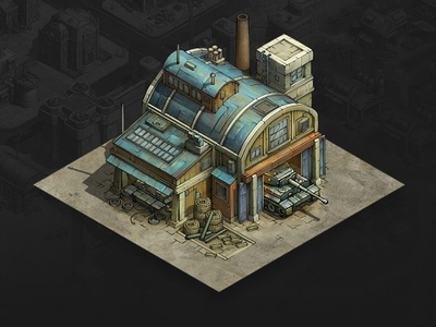 Tank Factory mobile game game asset game artist isometric illustration isometric art isometric illustration game art game design concept art concept building art architecture