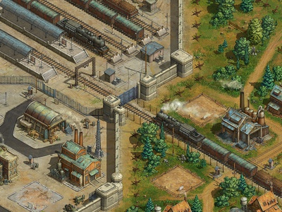 Station mobile game game asset game artist isometric illustration isometric art isometric illustration game art game design concept art concept art building architecture