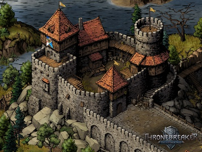Lyria witcher thronebreaker fortress castle medieval fantasy game asset game artist isometric illustration isometric art isometric illustration game art game design concept art concept art building architecture