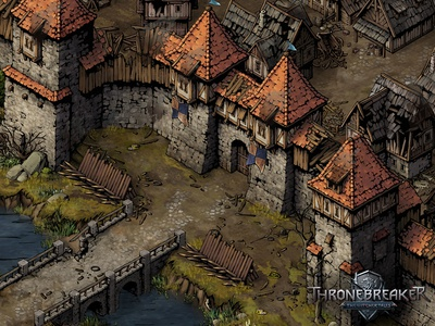 Lyria thronebreaker fortress castle town medieval fantasy game asset game artist isometric illustration isometric art building isometric illustration game art game design concept art art concept architecture