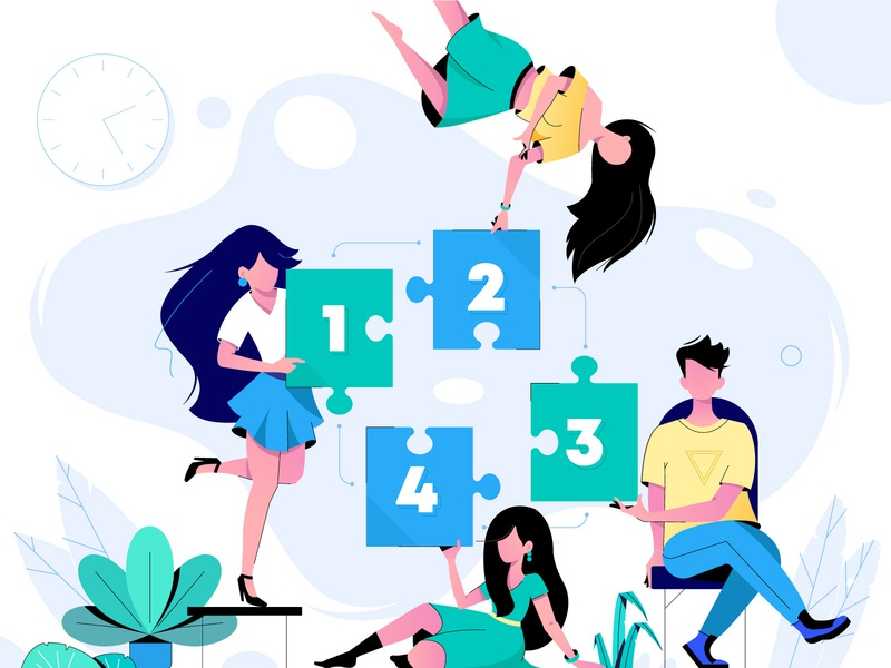 Teamwork concept. Сonnecting puzzle elements vector illustration people teamwork success puzzle partnership marketing infographic idea design creativity corporate connect concept communication colorful collaboration character business