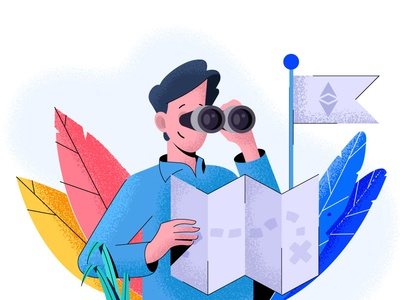 Guy with binoculars people web leaf art guy follow map search 404 etherium crypto binoculars man design character vector illustration flat