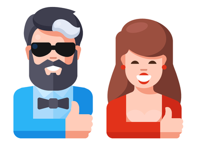 Man And Woman Show Approval Gesture