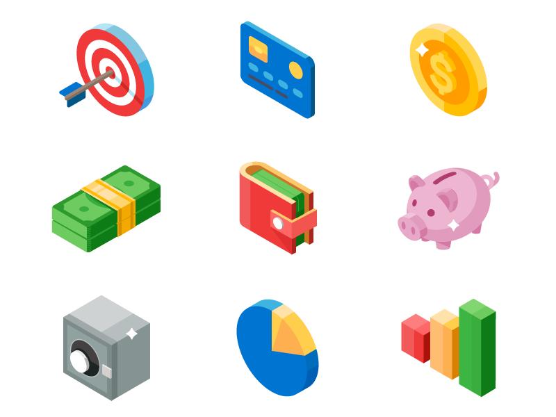 Isometric Icon Set Business And Money By Serhii Mudruk