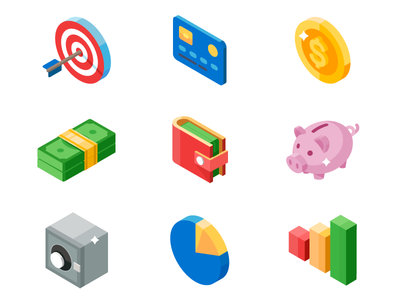 Isometric Icon Set - Business And Money