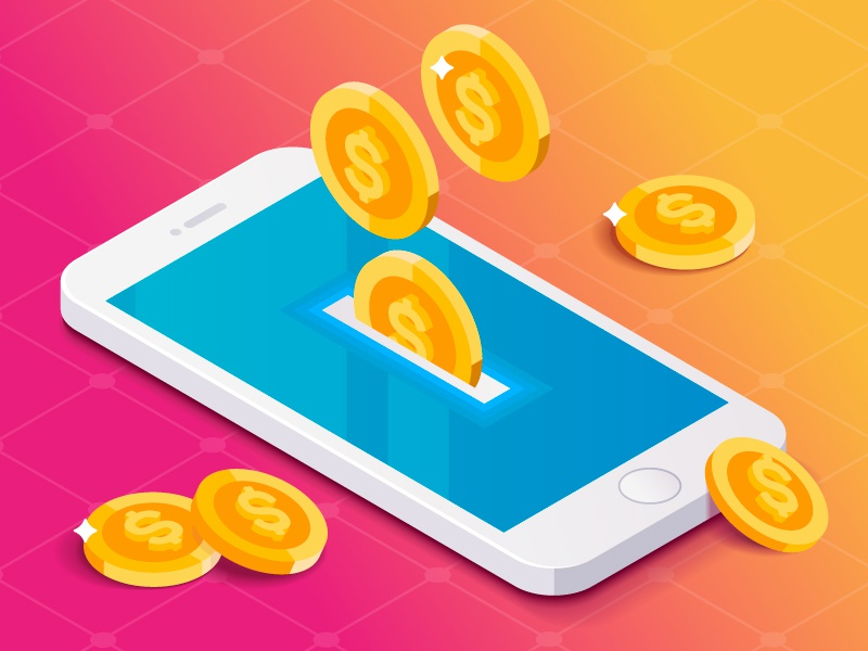 Coins drop in phone ios isometric money gradient dollar gold coin app iphone payment mobile