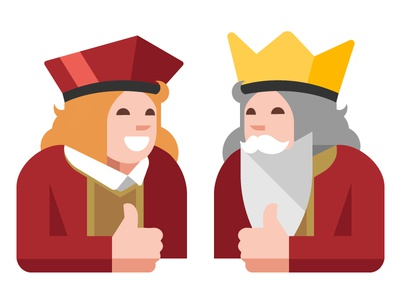 Smiling king and jack. Gambling.