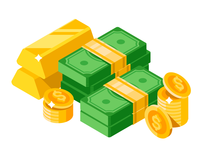 Isometric dollars bundles with gold bars