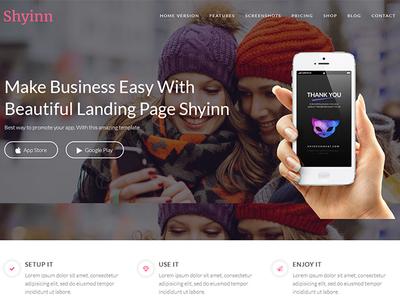 Shyinn Lite - Free One Page App WordPress Theme