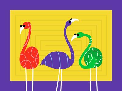 Flamingo vibrant colors vibrant color flamingo animal colorfull colors 2d vector cute illustration flat affinity designer