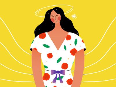 Girl Who Loves Flower colorfull colors 2d vector cute character design character illustration flat affinity designer