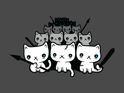 Cats are coming undead cats game of thrones white walkers illustrator vector cat army zombie cats cute cats cats gameofthrones t-shirt shirt illustration