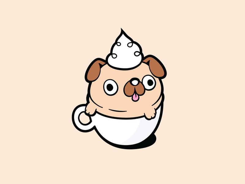 Puppucino cute pug shirt illustration vector pug doodle dog doodle pug illustration cup of coffee coffee coffee dog pug cute dog dog illustration dog