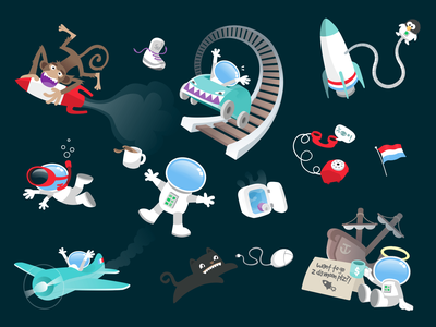 Outer space universe galaxy zero gravity floating rocket illustrator rollercoaster space cat space astronaut vector illustration