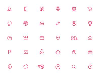 Icons for urban car sharing platform