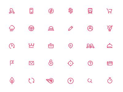 Icons for urban car sharing platform light icons simple icons icons design urbygo minimalistic line art icons set vector icons
