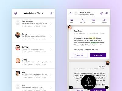 Würd Voice UI mock-ups speech app speech chat ui record app communication app android ios app chat app chat voice chat user interface ui