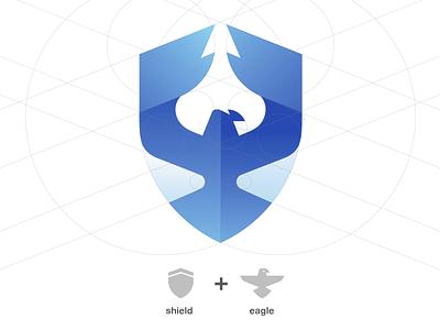 Logo play: Shield & Eagle fusion blue eagle illustrator fusion bird logo animal logo protective animal logo grid branding illustration logo vector golden ratio shield logo eagle shield shield eagle logo eagle