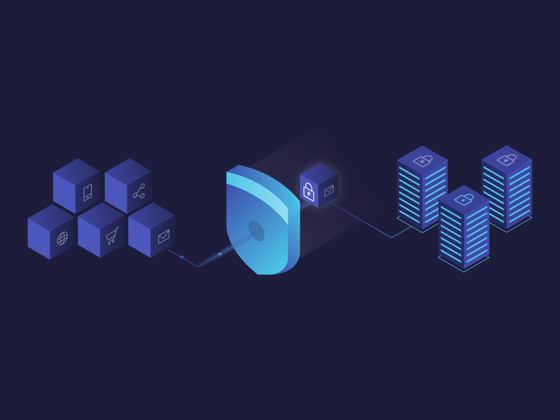 Safe Haven affinity designer marketing privacy shield database purple blue isometric illustration data privacy security