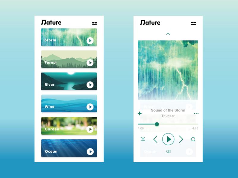 Ambient Music App ux userinterfacedesign userinterface userexperiencedesign userexperiance uiux uidesign ui concept ui mobileapp design app adobexd