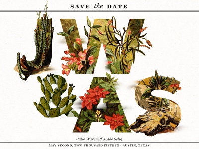 Save the Date   JW & AS save the date invite wedding