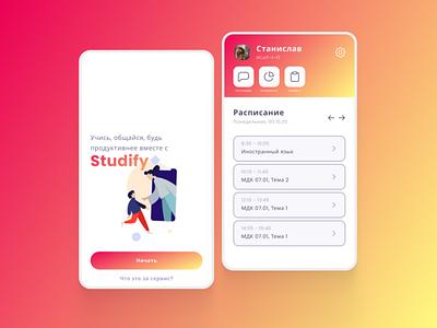 Studify - Study mobile app figma art app branding ux ui typography illustration design minimal