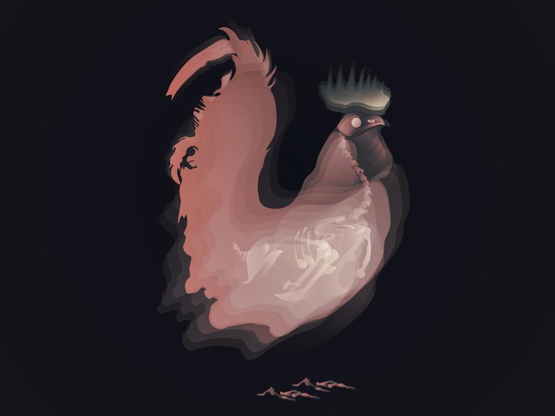Cockerel ui website web ux flat vector illustration design animal
