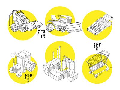 Line illustrations icon truck car tractor illustration line