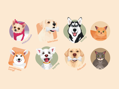 Dogs & cats vector icons cat dog illustration