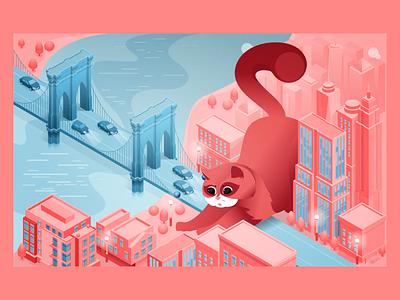 Cat in the city city 2d 3d cat illustration