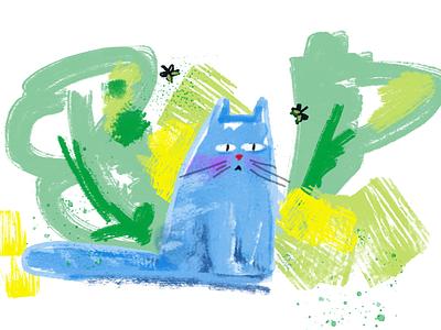 Blu cat illustration painting cat