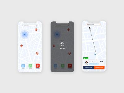 Uber Rescue - Map swipe map uber app design interface adobexd uidesign uxdesign
